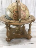 Vintage Wood Table Top Zodiac Astrology Old World Globe Made in Italy