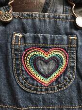 euc OSHKOSH B'GOSH denim/blue jean OVERALLS rainbow heart 6 months osh kosh