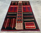 Authentic Hand Knotted Afghan Balouch Wool Area Rug 4 x 3 Ft (423 HMN)