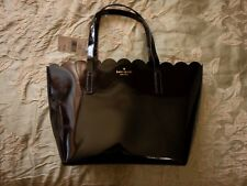 Kate Spade Lily Avenue Patent Black Small Carrigan Scallop Tote Bag NEW