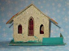 Vtg Christmas Cardboard Putz White/Orange/Blue House Mica Village