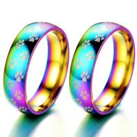Rainbow Color Stainless Steel Ring Pet Paw Print Dog Cat Band Rings Women Men