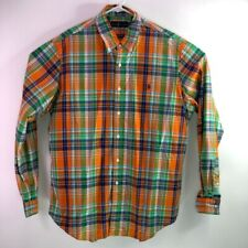 Ralph Lauren Mens Oxford Shirt Orange Green Plaid Long Sleeves 100% Cotton XL