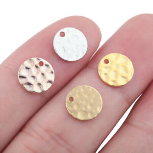 50X Raw Brass Round Earrings Charms Hammered Pendant Stamping Disc Dog Tags Diy
