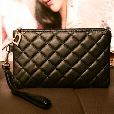 NEW Quilted Women Purse Wallet mobile phone Handbag Small Coin Zip leather PU