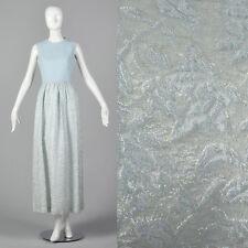 S 1970s Blue Sleeveless Maxi Dress Metallic Skirt Winter Cocktail Party NYE 70s