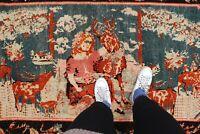 """Antique Handmade Vintage Armanian Karabagh Etnic Tribal Carpet Area Rug 8'1x4'9"""""""