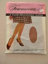 Townwear Seamless Mesh Stockings/Nylons-Cinnamon - Size 10 - 2 pair