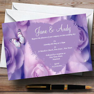 Lilac Lavender Butterfly Personalised Wedding Invitations