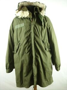 Vintage 70s 1978 US Army M-65 Fishtail Cold Weather Parka Jacket W/hood & Liner