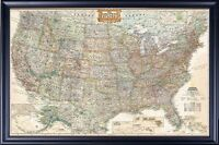 MAP OF THE UNITED STATES OF AMERICA USA MAP BLACK EXECUTIVE FRAME, Size 24x36