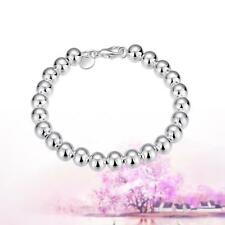 925 Silver 8mm Plated Ball Beads Chain Bracelet 21cm Sterling Women Jewelry UP