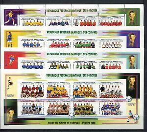COMORES ISLANDS 1998 MNH WC Football 1998  CM Calcio Soccer 4 MS  s7144