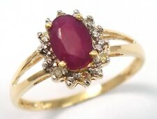 SYJEWELLERY 9CT YELLOW GOLD NATURAL OVAL RUBY & DIAMOND RING    R972