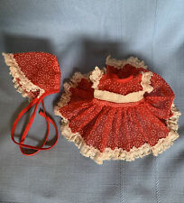 "Vintage 50s doll clothes fit 8"" baby Dress Bonnet sheer red Flocked Lace trim"