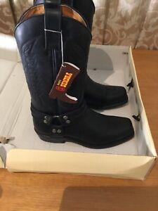 Sendra Men Cowboy Boots Black Biker Leather Handmade Boots Made in Spain Western