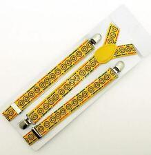 Unisex Fancy Dress Fashion Braces - Yellow Smiley Face Pattern Brand New