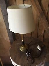 Lampe de table ou bureau art déco en laiton et bois