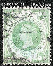 GREAT BRITAIN 1887 VICTORIA 1sh GREEN SC22 USED NO GUM WM 30 SCV