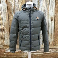 Superdry Grey padded tampon Down Jacket Coat Hooded hiver chaud size UK S 42158