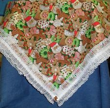 """**NEW** Handmade Glittery Christmas Cookies Table Cloth - 44"""" x 44"""" Square"""