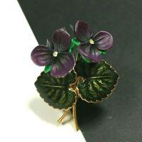 Vintage Enamel FLOWER Brooch Carved Celluloid Purple African Violets   GG20i
