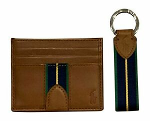 Polo Ralph Lauren Men's Brown Leather Card Case & Keychain Set  New in Box  NWT