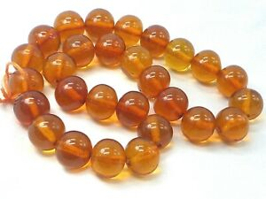 VINTAGE REAL HONEY AMBER ROUND BEADS FOR NECKLACE PRAYER CHINESE INTEREST 49.91G