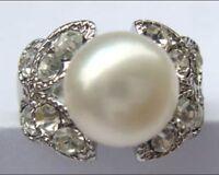 charme kultiviert 9-10mm weiße Süßwasser perle hochzeits party ring