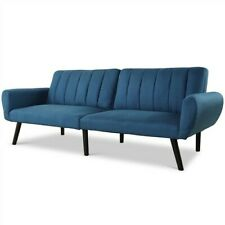 Modern Mid-Century Linen Split Back Futon Sofa Bed - Navy Blue