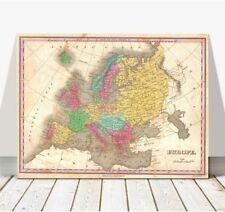 Vintage Finley Map of EUROPE 1827 Poster CANVAS PRINT 16x12""