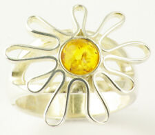 Sterling Silver Flower Brown Amber Ring - Size P