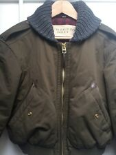 Burberry Brit Brown/Khaki Cropped Bomber Jacket with Knit Collar