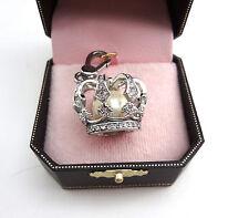 Juicy Couture Charm Faux Pearl Rhinestone Silver-Tone Key Fob Accessory