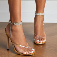 Ladies Sexy High Heels Clear Pvc Flip Flops Ankle Strap Sandals Party Pumps Shoe