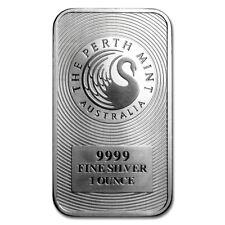 1 TROY OUNCE .9999 SILVER PERTH MINT BAR BU + 1 99.9% 24K GOLD $100 BILL