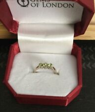 Gems Of London Peridot And 925 Silver Ring, Trilogy Ring, Size M