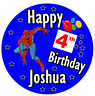 PERSONALISED - SPIDERMAN - BIRTHDAY BADGE, ANY NAME AND AGE - NEW - SIZE 77mm