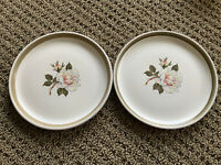 "2 Vintage DENBY Stoneware 6.75"" Dessert Plate White Rose England"