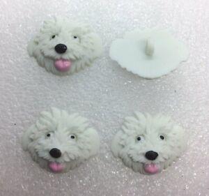 White Fluffy Shaggy Dog Shank Button Novelty Dress It Up Jesse James Buttons
