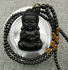 100%natural Black Obsidian hand-carved Baby Buddha Lucky Pendant+Beads Necklace