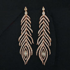 14k Yellow Gold Natural 5.35Ct. Diamond Pave Feather Dangle Earrings Jewelry NEW