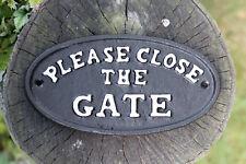 VINTAGE CAST IRON chiudere chiuso il cancello segno parete da giardino placca