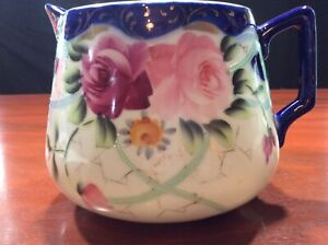 Vintage Nippon Hand Painted Pitcher Cobalt Blue Gold Raised White Accents