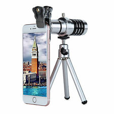 Professional Photos HD Lens Kit 12X Optical Zoom Mono Telescope Clip-On Tripod