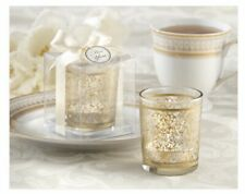 Lot Of 2 Gold Renaissance Glass Tea Light Candles New In Boxes.