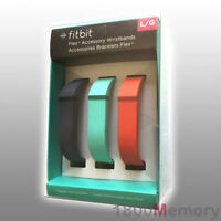 GENUINE Fitbit Flex 3 Large Replacement Bands + Metal Clasp  Navy Teal Tangerine