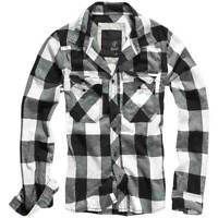 Brandit Check Shirt Mens Long Sleeve Casual Hiking Cotton Flannel Top Navy Blue