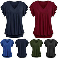 Plus Size Women's Blouse V Neck Ruffle Ladies Summer T Shirt Loose Casual Tops