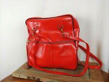 Vtg 1970s Red Vinyl Travel Bag Sports Gym Carry On Tote Holdall Airline Bag
